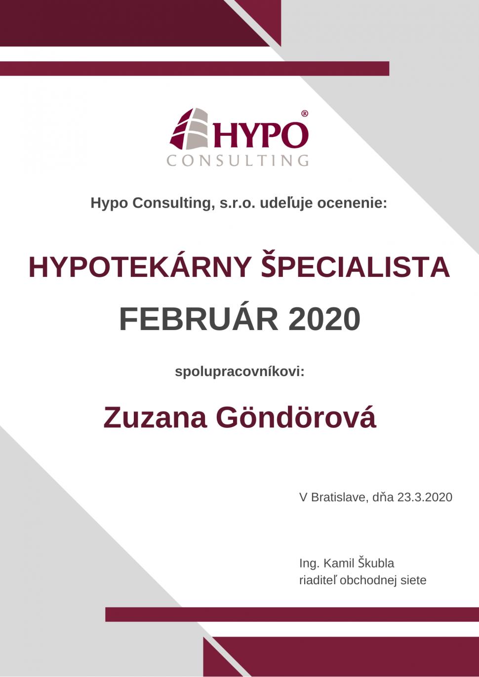 Hypotekárny špecialista FEBRUÁR 2020