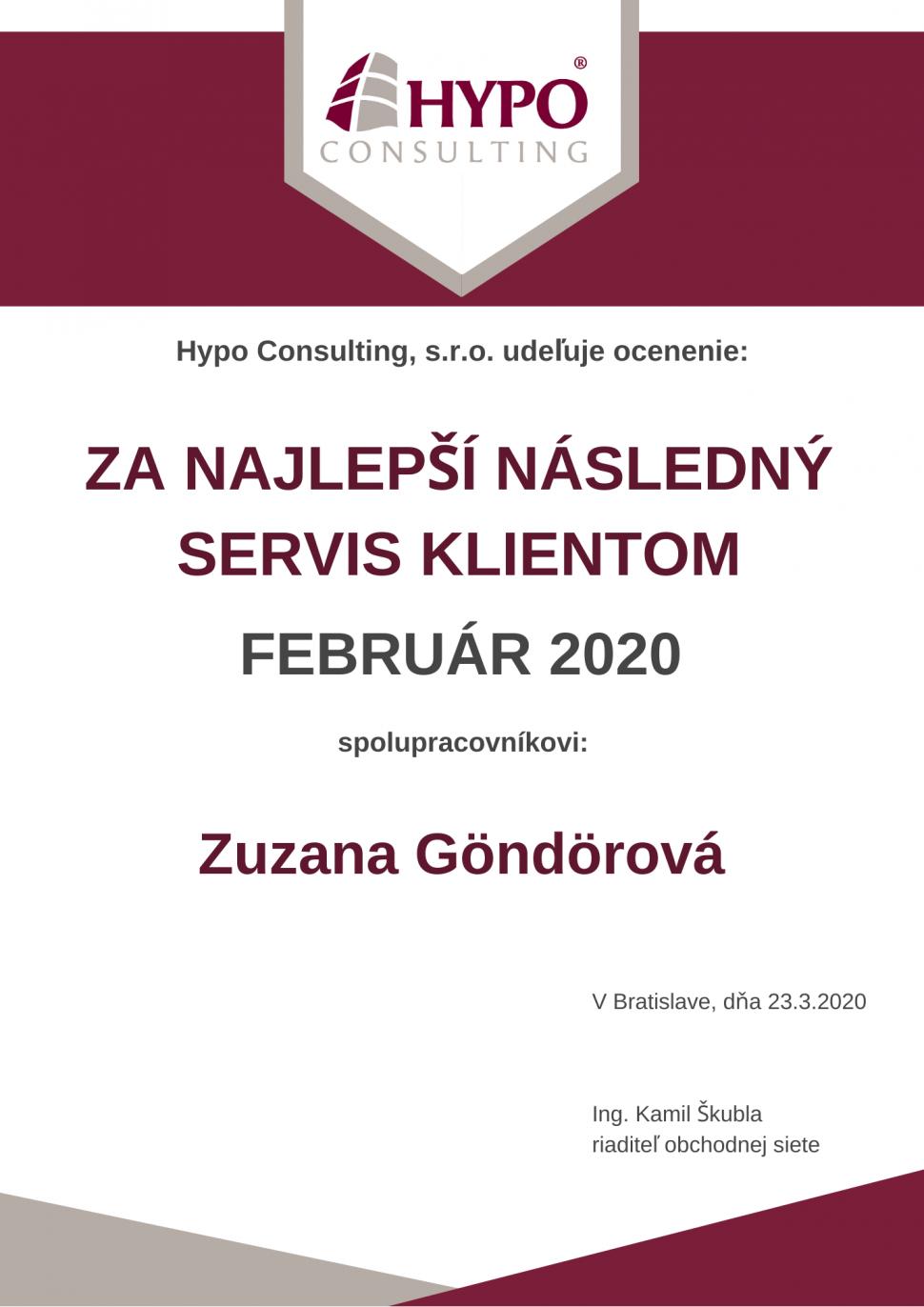 Následný servis klientom FEBRUÁR 2020